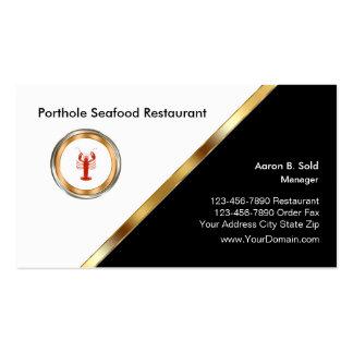 Restaurante con clase de los mariscos tarjetas de visita