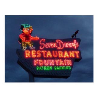 Restaurante de 7 enanos en Wheaton IL. Señal de Tarjeta Postal