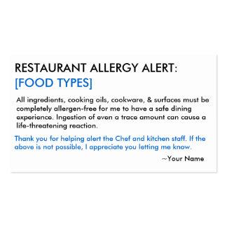 Restaurante de la alergia alimentaria y tarjeta tarjetas de visita