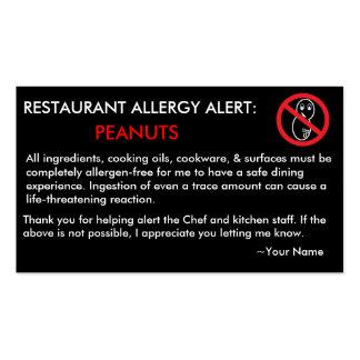 Restaurante de la alergia del cacahuete y tarjeta  tarjeta de visita
