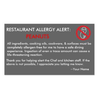 Restaurante de la alergia del cacahuete y tarjeta  tarjetas de negocios