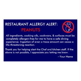 Restaurante de la alergia del cacahuete y tarjeta  plantillas de tarjeta de negocio