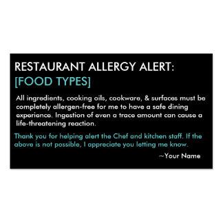 Restaurante de la alergia y tarjeta personalizados tarjeta de visita