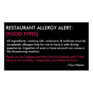 Restaurante de la alergia y tarjeta personalizados plantillas de tarjeta de negocio