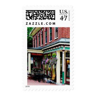 Restaurante de la esquina con las plantas sello postal