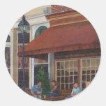 Restaurante de la esquina pegatinas redondas