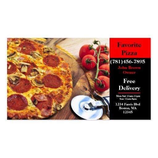 Restaurante de la pizza de la tarjeta de visita