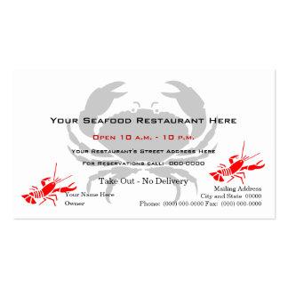 Restaurante de los mariscos del logotipo del cangr tarjetas de visita