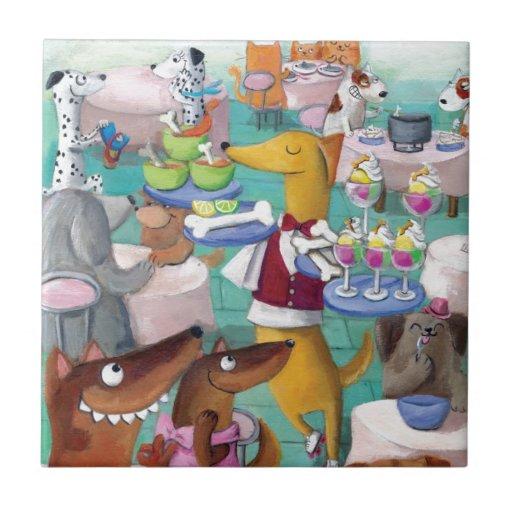 Restaurante de los perros azulejo cuadrado pequeño