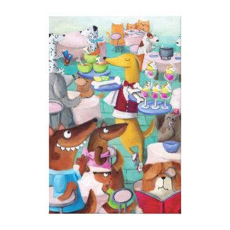 Restaurante de los perros impresion de lienzo