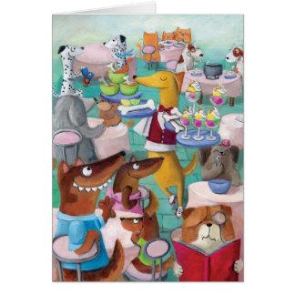 Restaurante de los perros tarjeta de felicitación