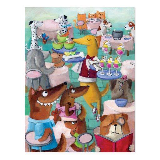 Restaurante de los perros tarjeta postal