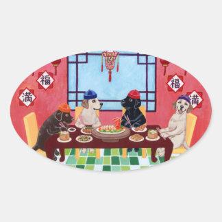 Restaurante del chino de Labrador Pegatina Ovalada