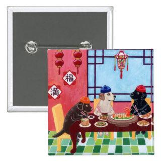 Restaurante del chino de Labrador Pin Cuadrado
