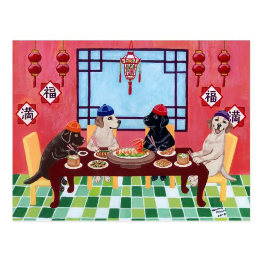 Restaurante del chino de Labrador Tarjeta Postal
