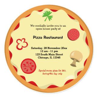 """Restaurante del negocio de la pizza invitación 5.25"""" x 5.25"""""""