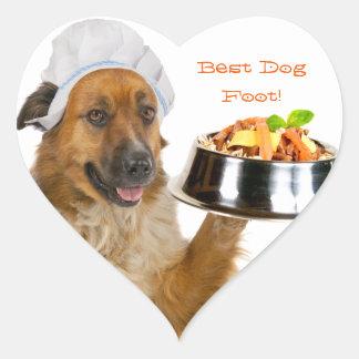 Restaurante del perro pegatina en forma de corazón