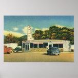 Restaurante del vintage, impulsión 50s en comensal póster