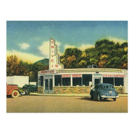 Restaurante del vintage, impulsión 50s en comensal postales