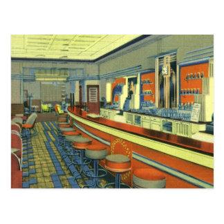 Restaurante del vintage interior retro del comens tarjetas postales