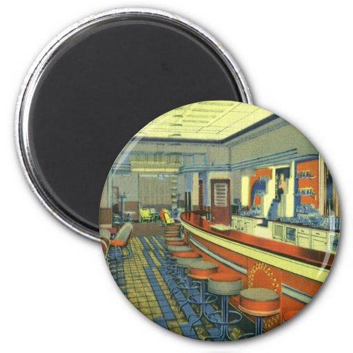 Restaurante del vintage, interior retro del imán redondo 5 cm