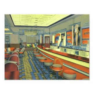 """Restaurante del vintage, interior retro del invitación 4.25"""" x 5.5"""""""