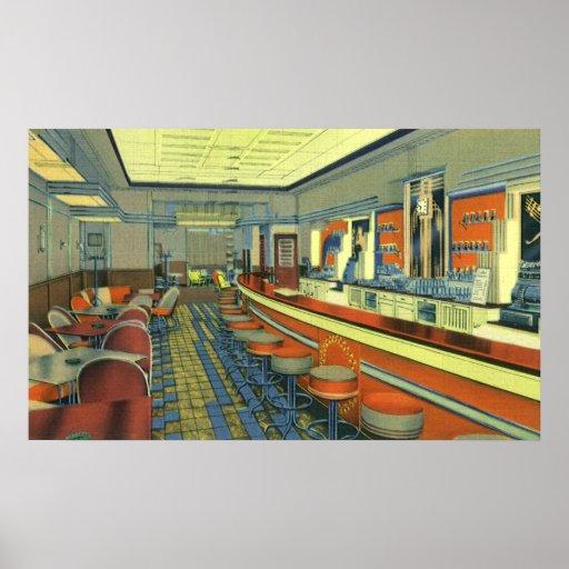 Restaurante del vintage, interior retro del póster