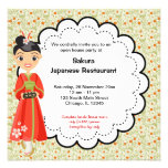 Restaurante japonés de la gran inauguración invitacion personalizada