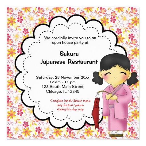 Restaurante japonés de la gran inauguración comunicados personales