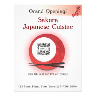 """Restaurante japonés de la plantilla del aviador folleto 8.5"""" x 11"""""""