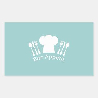 Restaurante o cocina francés de Appetit del Bon Pegatina Rectangular