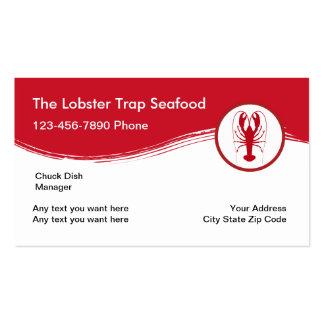 Restaurante simple de los mariscos tarjetas de visita