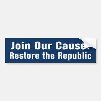 Restaure la república AntiObama Bumpersticker Pegatina Para Auto