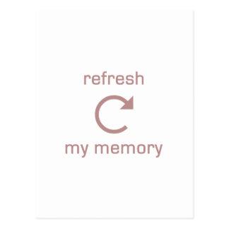 Restaure mi memoria (el texto rosado) postal