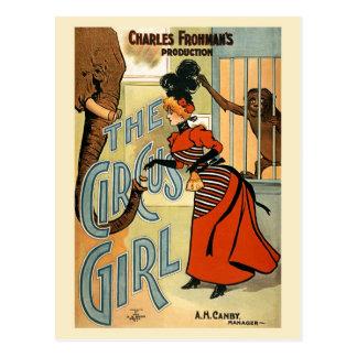 restauró el poster del vintage del chica del circo tarjetas postales