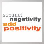 Reste la negatividad y añada la positividad posters