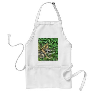 Resting Baby Wolf Pup Wildlife Photo Adult Apron