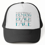 Resting Beach Face Summer Trucker Hat<br><div class='desc'>Show off your resting beach face this summer with our super cute typography trucker hat. Our funny play on the &quot;RBF&quot; catchphrase features the quote &quot;Resting Beach Face&quot; in black and pool aqua lettering. Cute and trendy hat makes a unique gift for the pop culture lover in your life.</div>