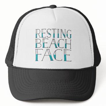 Beach Themed Resting Beach Face Summer Trucker Hat