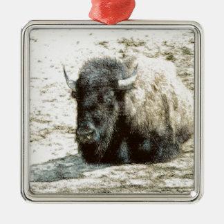 Resting Buffalo Square Metal Christmas Ornament