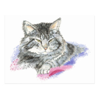 Resting Cat - Animal watercolor Collection Postcard