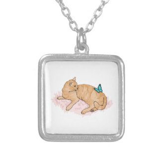 Resting Cat Butterfly Pendant