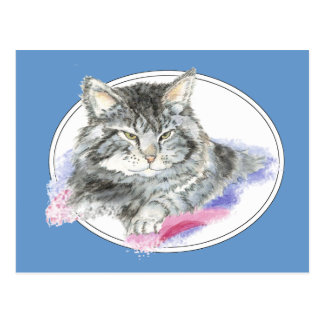 Resting Cat -  Pet Animal watercolor Collection Postcard