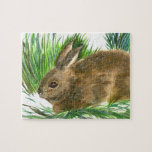 Resting Cottontail - watercolor Jigsaw Puzzles