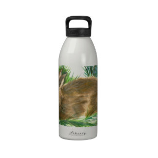 Resting Cottontail - watercolor Reusable Water Bottles