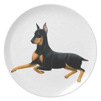 Resting Doberman Pinscher Dog Plate