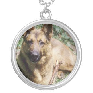 Resting German Shepherd Round Pendant Necklace