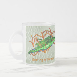 Resting Grasshopper 10 Oz Frosted Glass Coffee Mug
