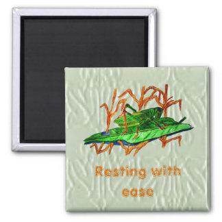 Resting Grasshopper 2 Inch Square Magnet
