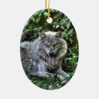 Resting Grey Wolf 3 Wildlife Gift Ornament